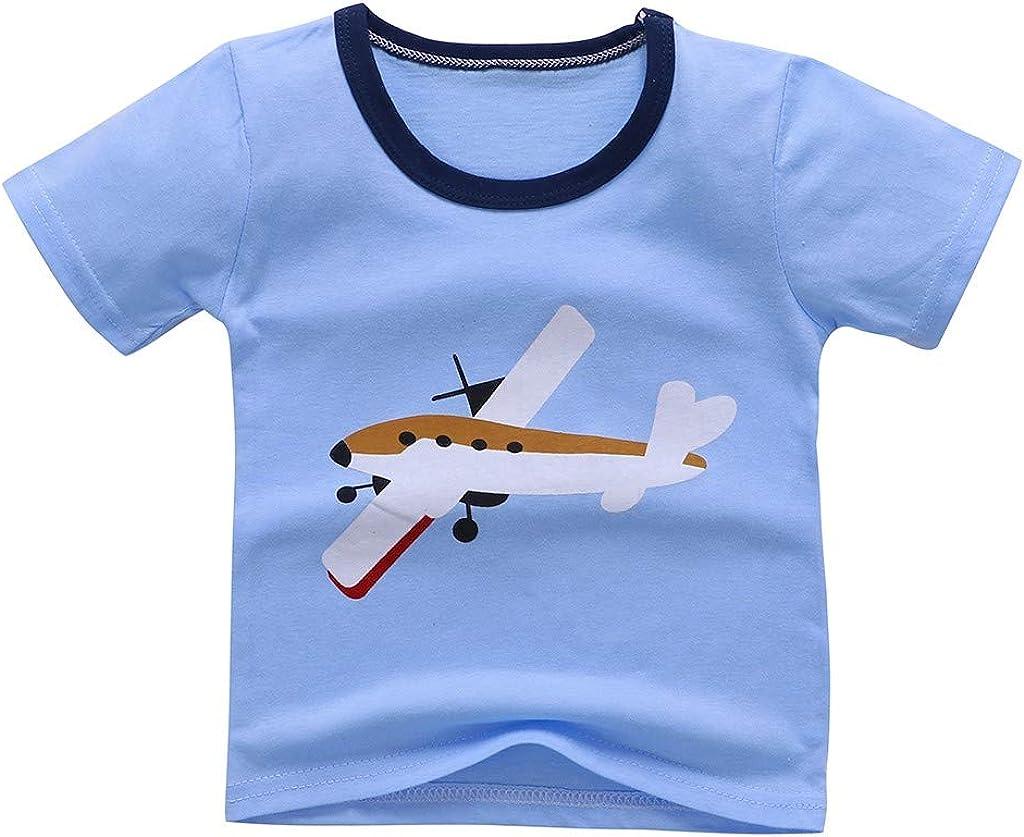 UULIKE--Baby Kids Boys Girls Pajamas 2 Pieces Crewneck Short Sleeve Cartoon Print Top Toddler Shorts Outfits Set Nightwear Sleepwear Blue,Pink,White,Gray,Brown,Yellow