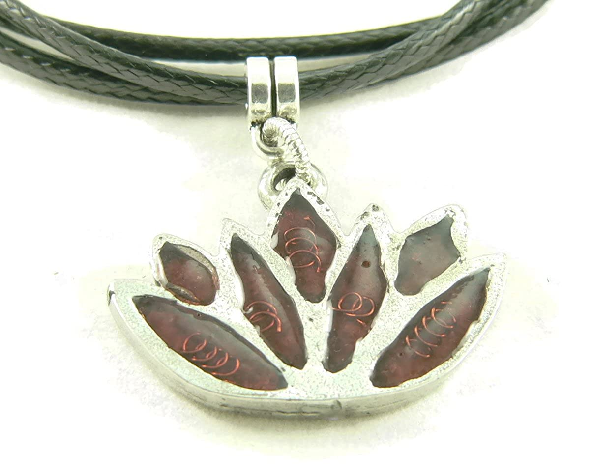 Leather Cord Faux Orgone Energy Small Lotus Flower Pendant Necklace in Garnet with Vegan