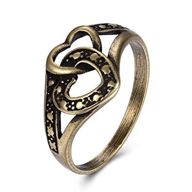 KopooaP Classical Antique Bronze Band Rings Gold Jewelry Birthday Gifts Presents Design for Women