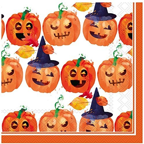 MesaFina Rosanne Beck Cocktail Beverage Napkins, Spooky Trio,