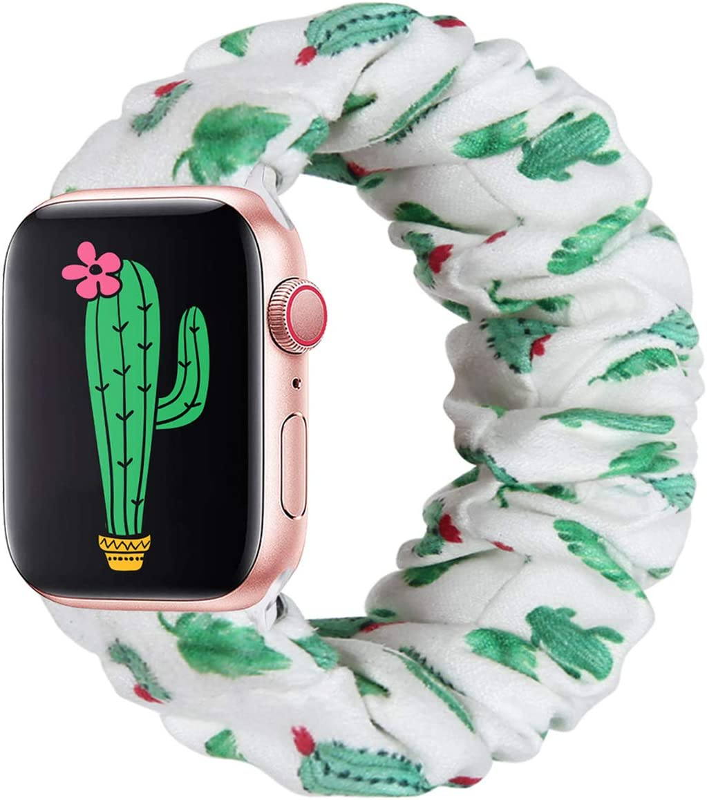 THOUSMOON Scrunchie Elastic Watch Band Compatible for Apple Watch,38mm 40mm / 42mm 44mm Light and Comfortable Watch Scrunchy Band Compatible with Iwatch Series 1/2/3/4 (Cactus, 38mm/40mm)