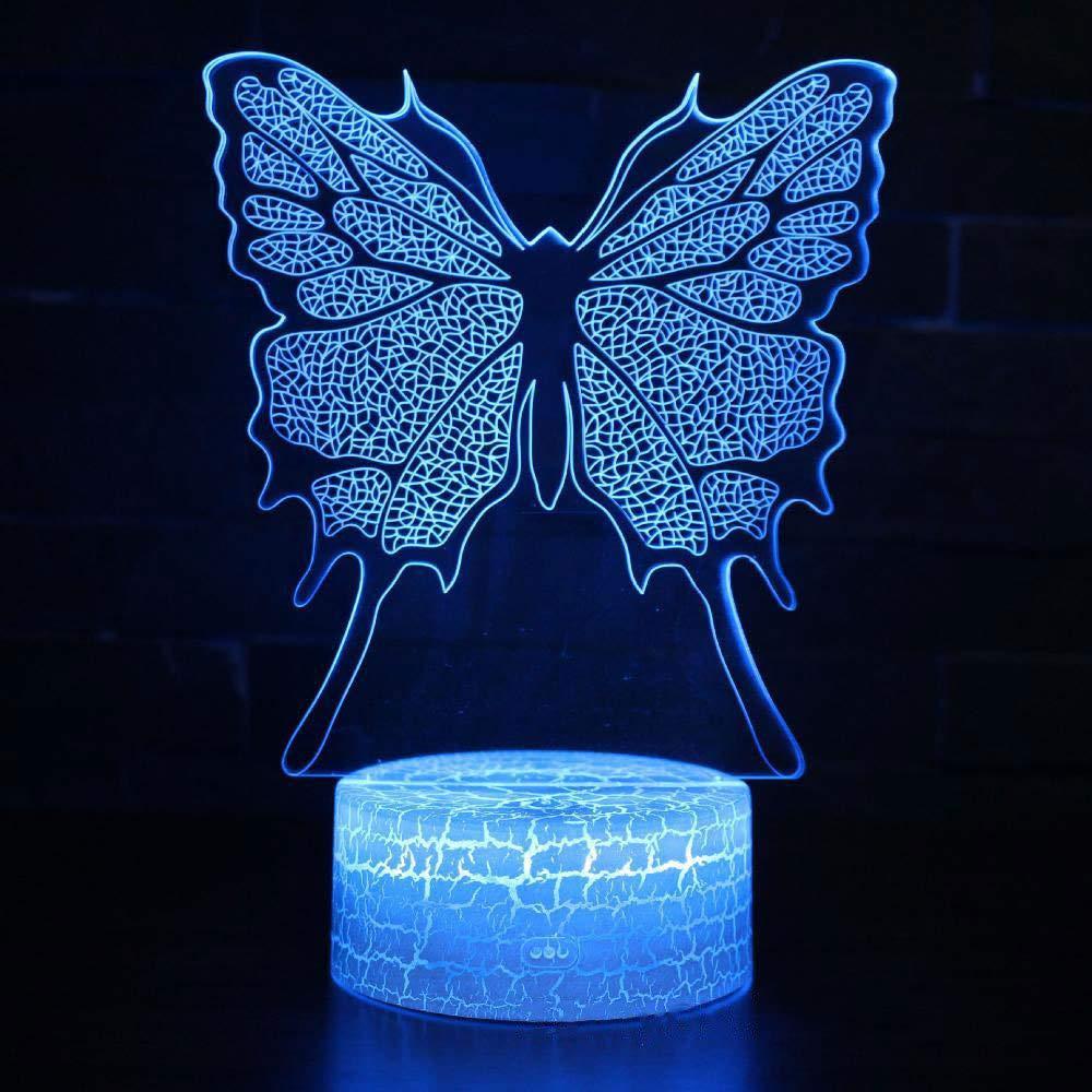 Tcaijing Nachtlicht LED Nachtlicht,Weihnachtsdekorationsschmetterlingsform 3D buntes Notenfernsteuerungs-Stereo-LED-Sichtlicht