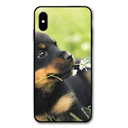 Amazon com: RONG FA Small Rottweiler Dog Pup with Flower Apple Cell
