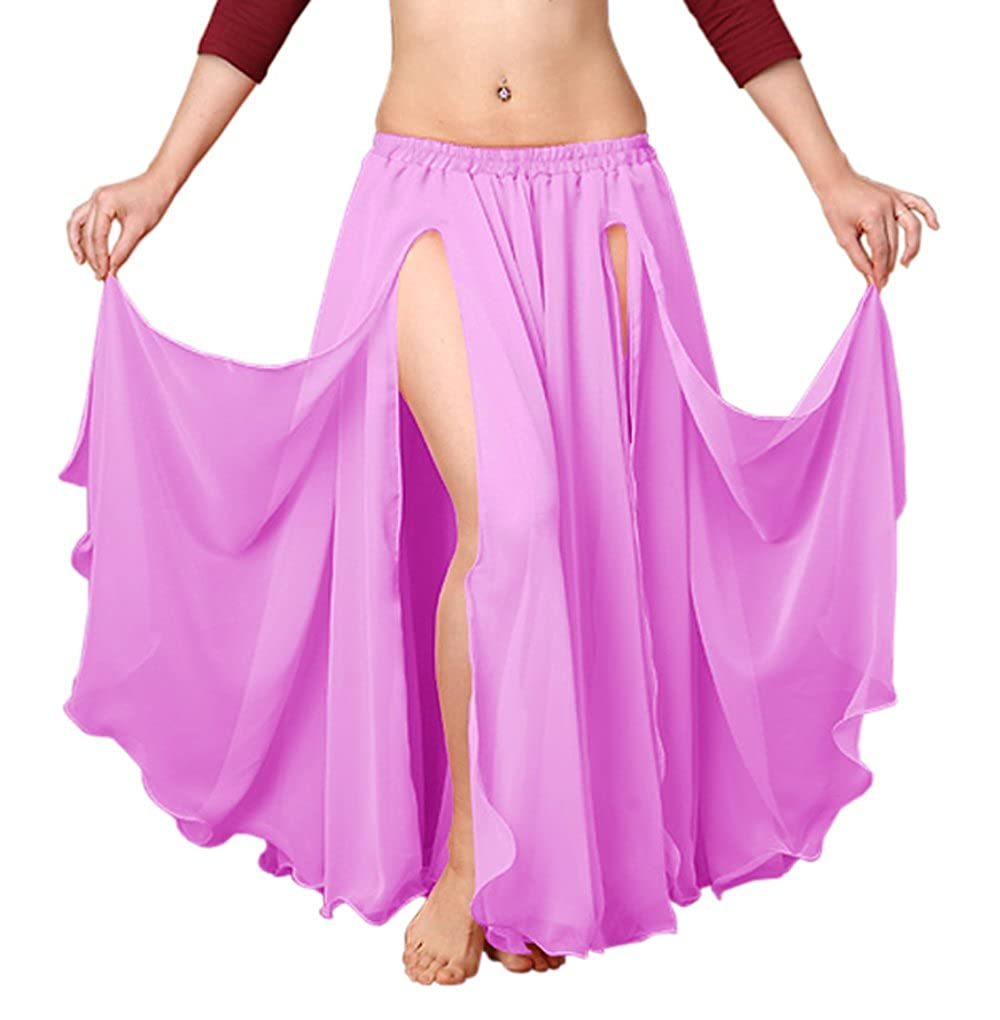 4ae82a9d79 Indian Trendy Chiffon Double Layer 2 Font Slit Skirt Belly Dance Tribal  Panel Jupe Rock (One Size, Black) at Amazon Women's Clothing store: