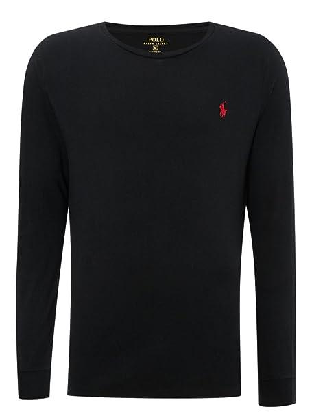 Ralph Lauren Polo Hombre Corte Clásico Manga Larga Con Cuello Redondo  Camiseta negra (XL) 272903ad220b5
