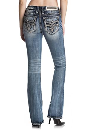 61f7aab3adf578 Rock Revival Silana B201 Medium Dark Wash Boot Cut Fluer De Lis RP9569B201  (25)
