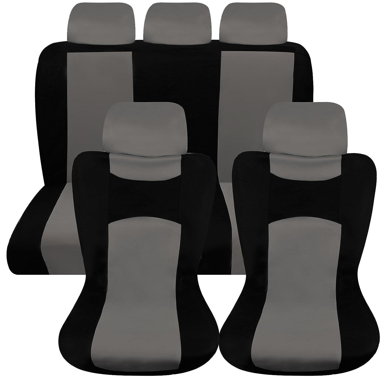 Hamimelon Universal Auto Autositzabdeckung Autositzbezuege KFZ PKW Sitzbezuege Schonbezuege Bezug Sitzschoner Sitzschutz Schutz Komplettset Dunkelgrau