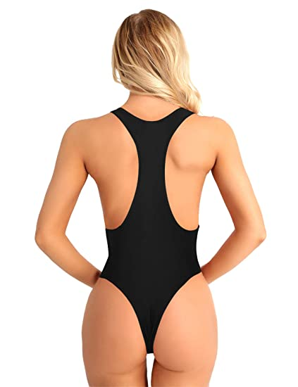 877f7e0bab Alvivi Sexy Women s One Piece High Cut Open Chest Thong Leotard Bodysuit  Teddy Lingerie Black Small