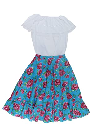 Mexican Clothing Co Womens Mexican Adelita Costume Blouse n Skirt Poplin one size Blue 4389