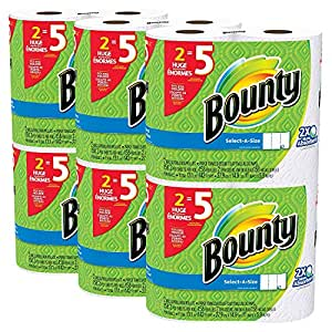 Bounty Select-a-Size Paper Towels WVdXcW, White, Huge Roll, 24 Count