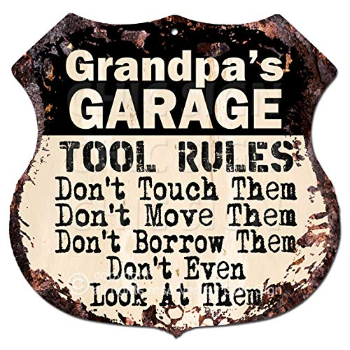Grandpa's Garage Tool Rules Rustic Chic Sign Vintage Retro 11.5