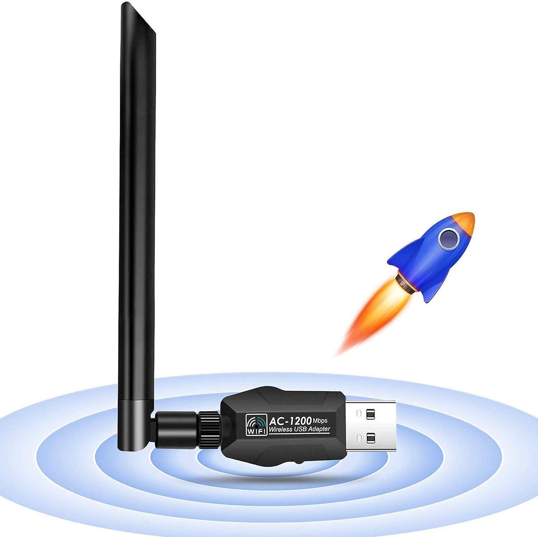 JamBer Adaptador WiFi USB Dual Band 1200Mbps (5.8Ghz+2.4Ghz WiFi Stick Antena inalámbrica 5dBi/Adaptador WLAN USB 3.0/Adaptador inalámbrico Adecuado ...