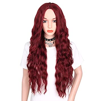 veryeah Historial de mujeres de color de larga rizado peluca sintético wellenförmiges rizado pelo hitzebeständige rojos Negra peluca: Amazon.es: Belleza