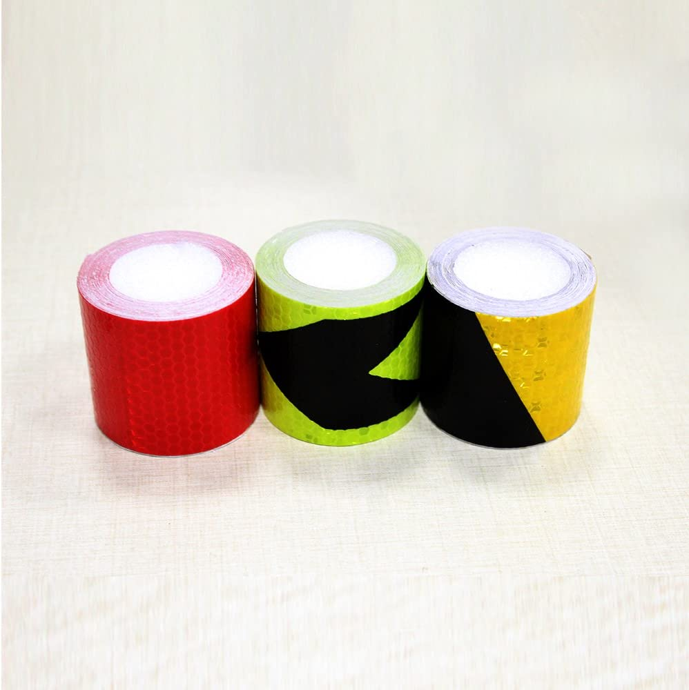 Muchkey 3Pcs 5cmx3m 2x118 Gold-Black,Silver-Red,Silver-Blue Honeycomb Self-Adhesive Safety refelctive Tape Warning Tape Reflector Tape Security Marking Tape Waterproof for car//trailers //truck//traffic//Construction site