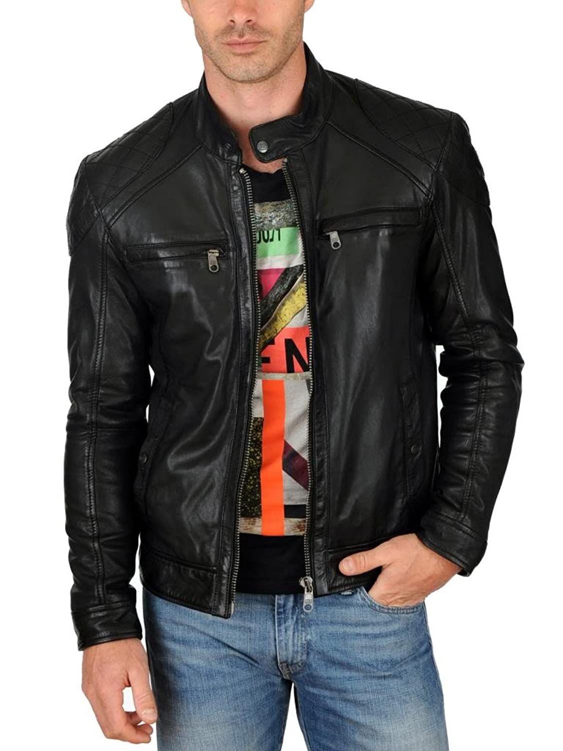 Men Leather Jacket Biker Motorcycle Coat Slim Fit Outwear Jackets AUK091