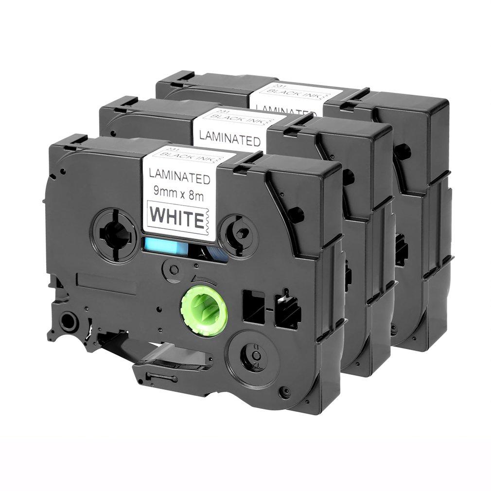 Hyconcam - Nastro plastificato per etichettatrice Brother TZe-231 TZ-231, 12 mm x 8 m, colore: bianco (inchiostro nero) 3 x Black on White HYT001
