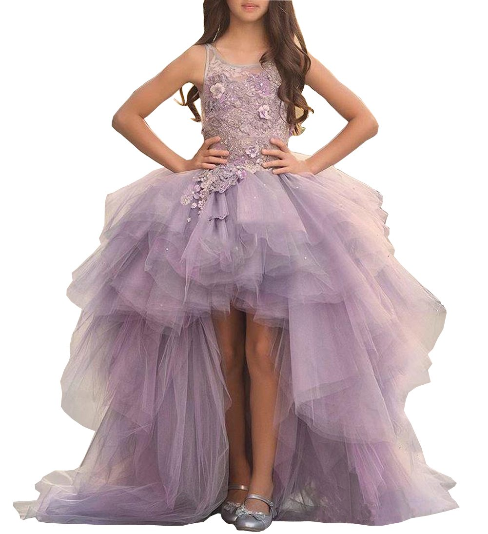 Dreammade Girl's Lace Applique Sleeveless Hi-Lo Pageant Party Dress Flower Girl Dress (14, Lavender)