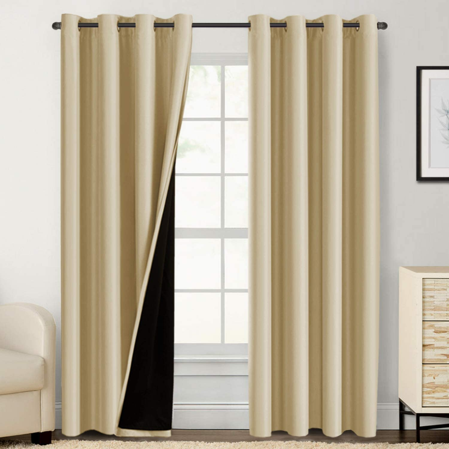 Double Layer 100% Blackout Curtains for Bedroom 96 Inches Long Thermal Insulated Lined Curtains for Living Room | Full Light Blocking Energy Saving Grommet Drapes Draperies, 2 Panels, Wheat