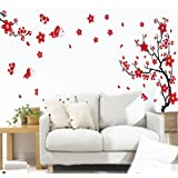 Sticker Mural Avec des Fleurs de Prunier et des Papillons (Décalcomanie)
