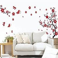 BestOfferBuy - Adesivo Sticker Murale Romantico con Fantasia Fiori di Mirabolano e Farfalle
