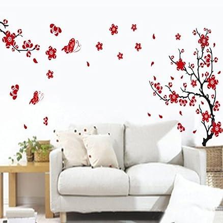 Bestofferbuy - Adesivo Sticker Murale Romantico Con Fantasia Fiori