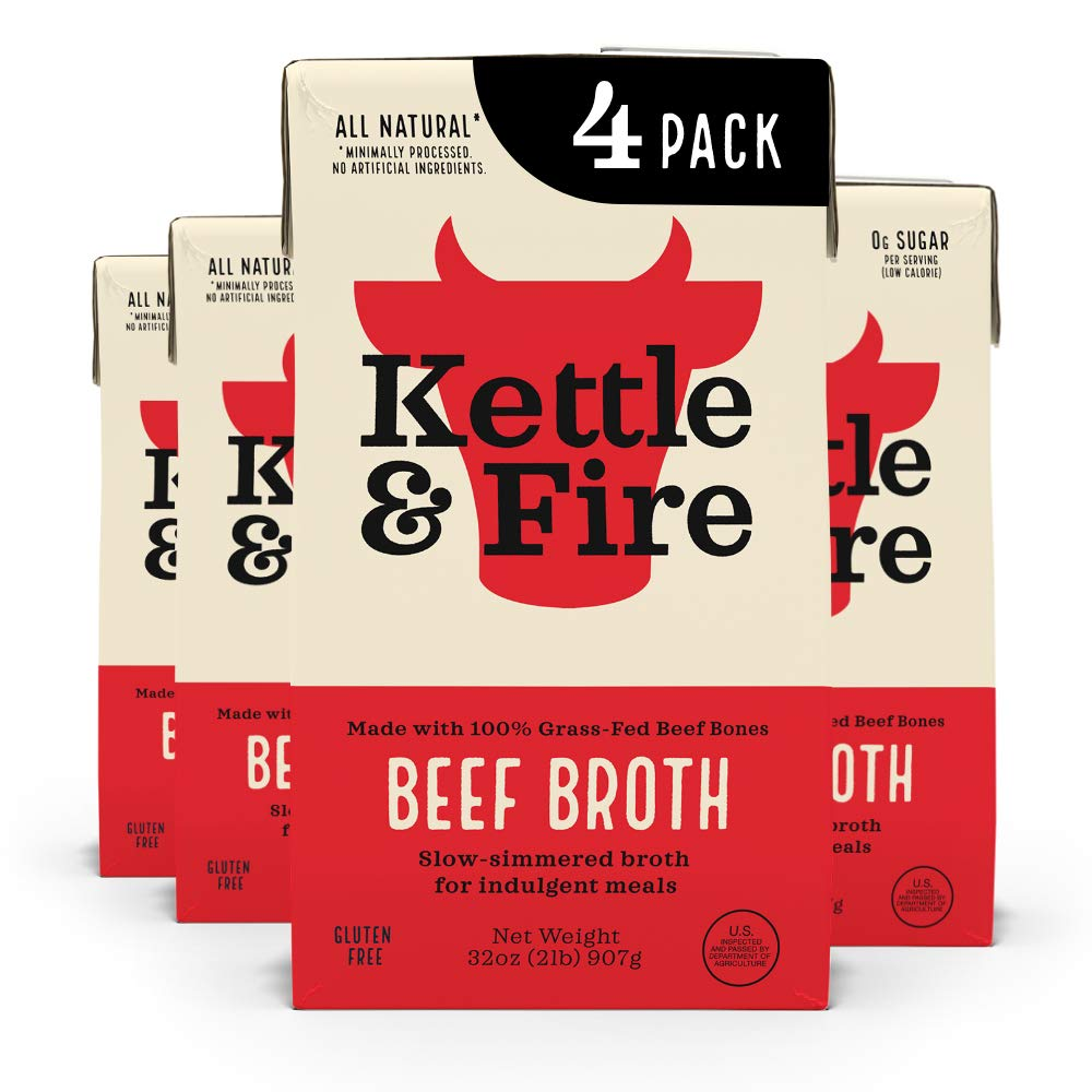 Beef Cooking Broth by Kettle and Fire, 32oz For Cooking, stock, Keto Diet, Paleo Friendly, Whole 30 Approved, Gluten Free, with Collagen, Protein (Pack of 4)