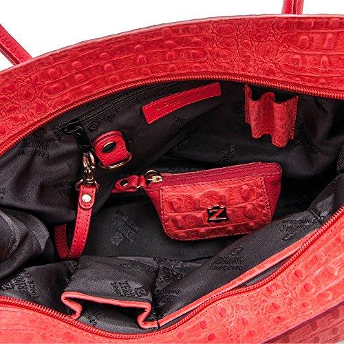 Zerimar Frauen Ledertasche | Ledertasche für Damen | Tasche Damen Umhängetasche | Farbe: Marine blau | Massnahmen: 38x30x10 LMvYjeC