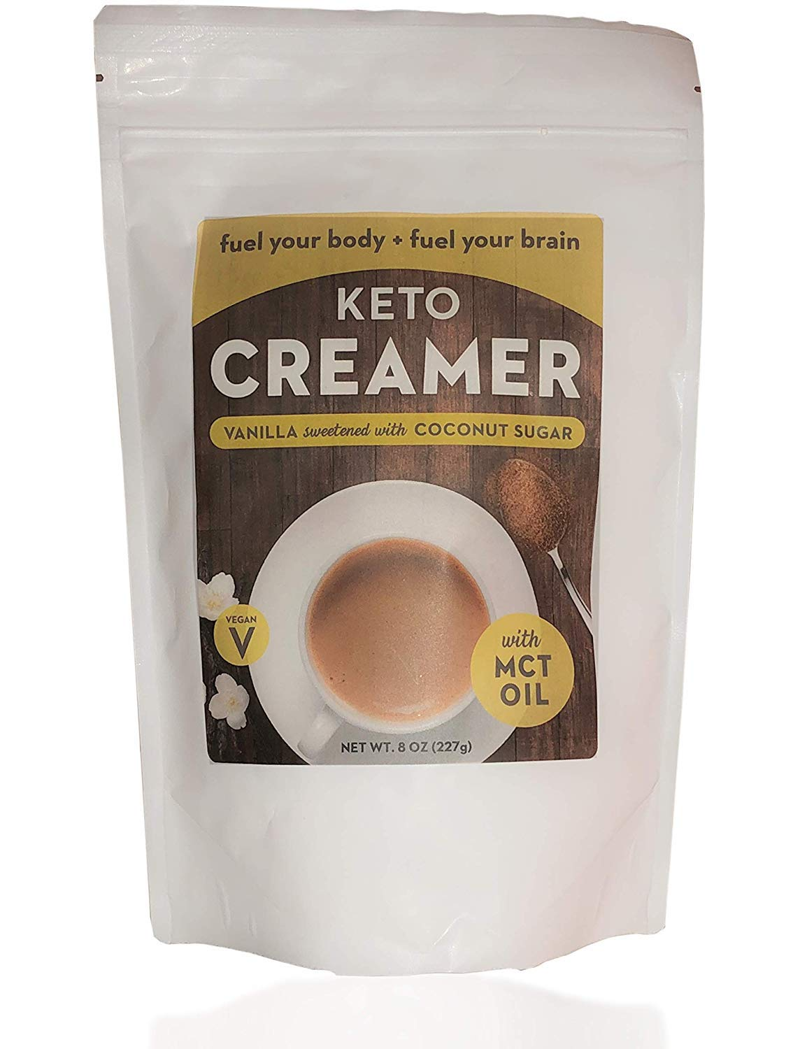 Keto Creamer with MCT Oil, Dairy Free Super Creamer with Vanilla Coconut Sugar, 8 oz Resealable Bag by Keto Creamer