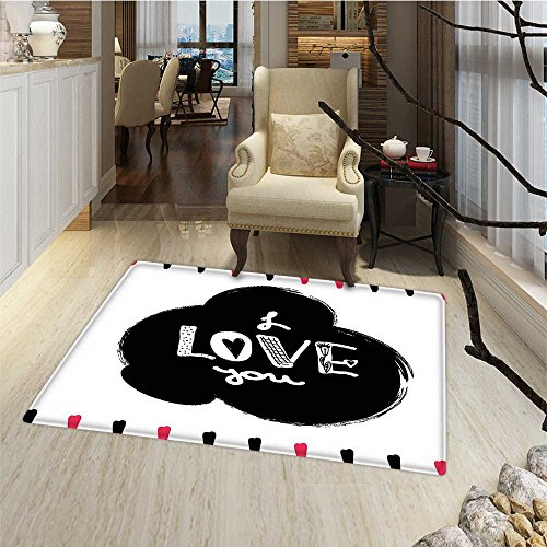 Romantic Door Mat indoors Hand Drawn Poster with Modern Call