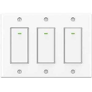 Smart Light Switch 3 Gang Alexa Smart Switch 2.4Ghz Wifi Light Switch Work with Alexa Google Home IFTTT