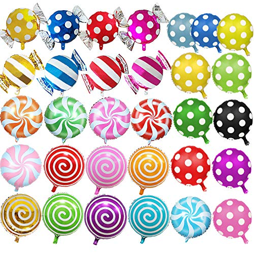 SOTOGO 31 Pieces Sweet Candy Balloons Children Birthday Party Balloons Set Candy Theme Balloons Decorations -