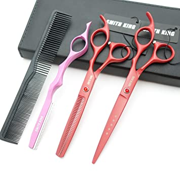 7.0 Inches Professional hair cutting thinning scissors set with razor (Red)