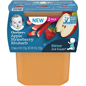 Gerber Purees 2nd Foods, Apple, Strawberry & Rhubarb, 4 Ounce Tubs, (Pack of 8)