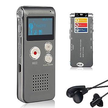 Lychee 8GB grabadora de Voz USB Recargable dictáfono LCD con Grabador de Audio Digital Multifuncional y Reproductor de MP3 (Gris de Plata): Amazon.es: ...