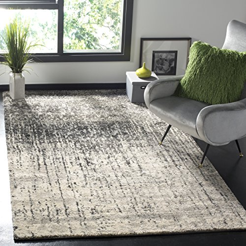 Safavieh Retro Collection RET2770-9079 Modern Abstract Black and Light Grey Square Area Rug (6' Square)