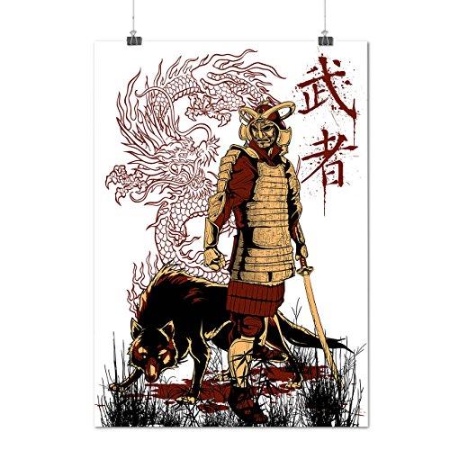 wellcoda Japan Dragon Wolf Samurai Life Matte/Glossy Poster A0 (33″ x 47″)