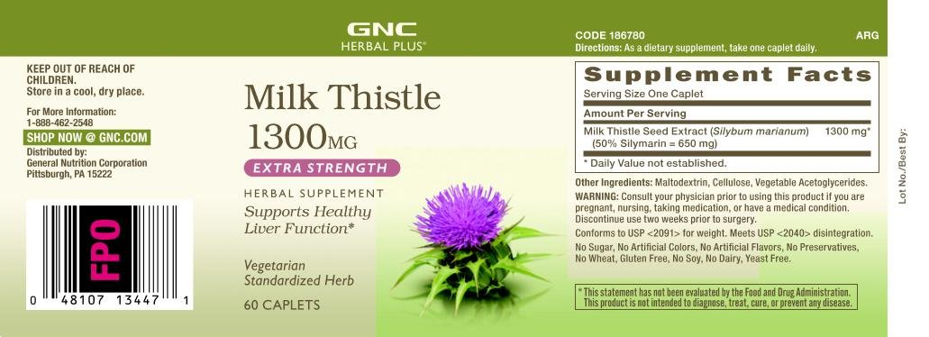 GNC Herbal Plus Milk Thistle for Healthy Liver, 1300mg - 60 Caplets, 2 Pack