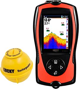 LUCKY Portable Fish Finder Transducer Sonar Sensor 147 Feet Water Depth Finder LCD Screen Echo Sounder Fishfinder with Fish Attractive Lamp for Ice Fishing Sea Fishing
