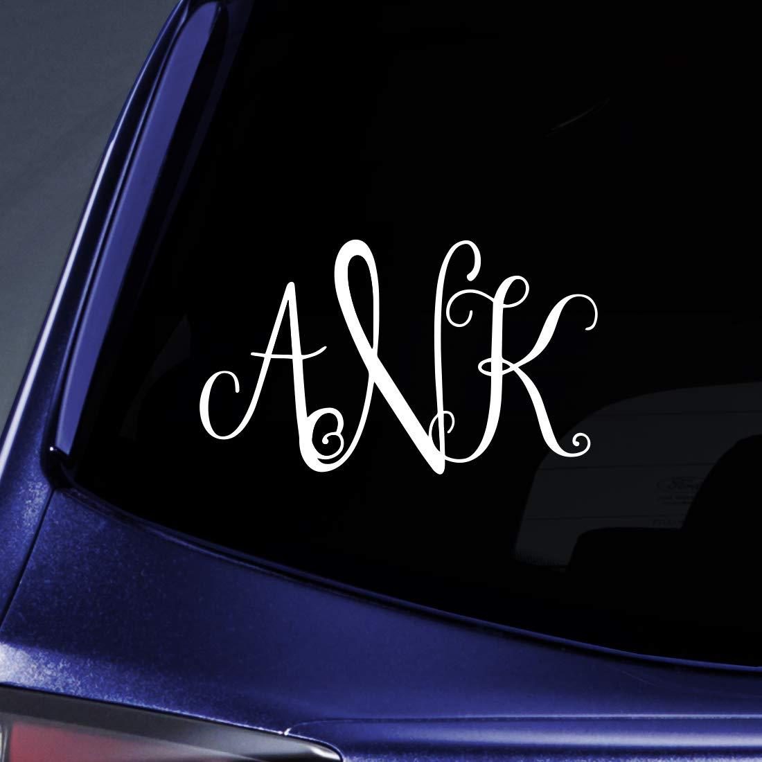 Amazon com bargain max decals vine monogram 3 initials custom sticker decal notebook car laptop 5 white automotive
