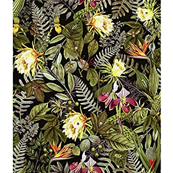 IKALA TROPICAL BIRDS FLOWERS WALLPAPER MURIVA CREAM GREEN MULTI L76204