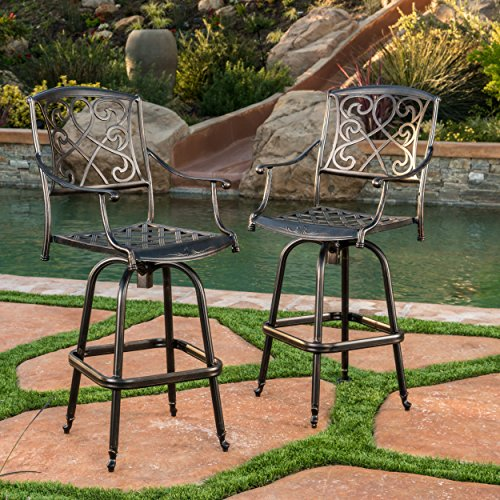 Paris Copper Finish Cast Aluminum Swivel Bar Stools (Set of 2)