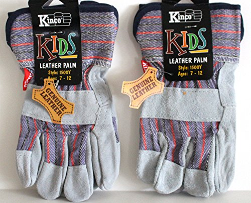 Kinco 1500 Youth (2-Pack) Genuine Leather Work Gloves for Kids (Boys & Girls) - Exactly Like the Adult Version -
