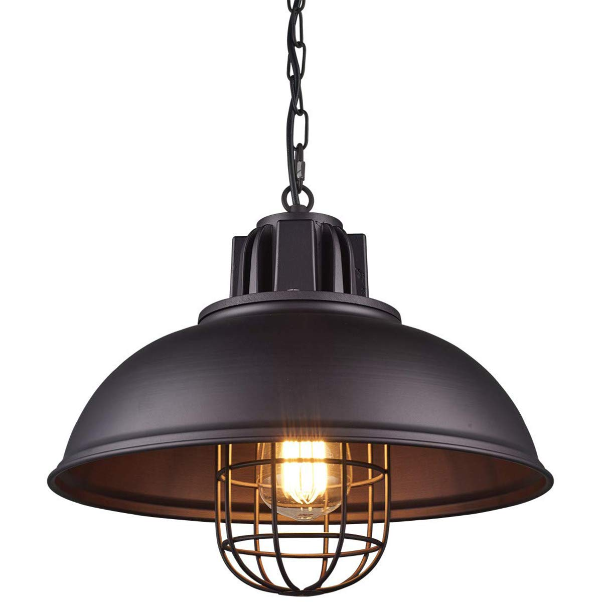 solo para ti Lámpara Lámpara Lámpara Colgante de Metal Industrial Lámpara de Comedor, Iluminación de Pantalla Negro de Vintage, Lámpara Colgante Granegro para Cocina, E27 Max 60W, W13  × H 67.3   diseños exclusivos