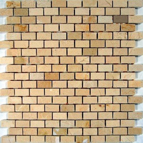 Crema Cream Marfil Marble Baby Brick Mosaic Tiles 5/8 x 1.5