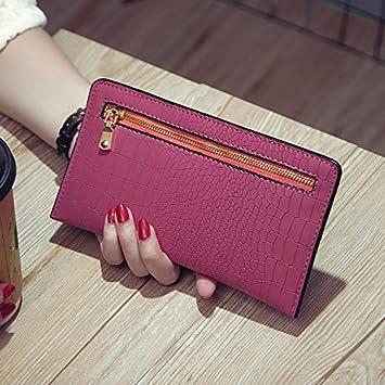 La mujer coreana retro largo delgado monedero bolso bolsa de ...