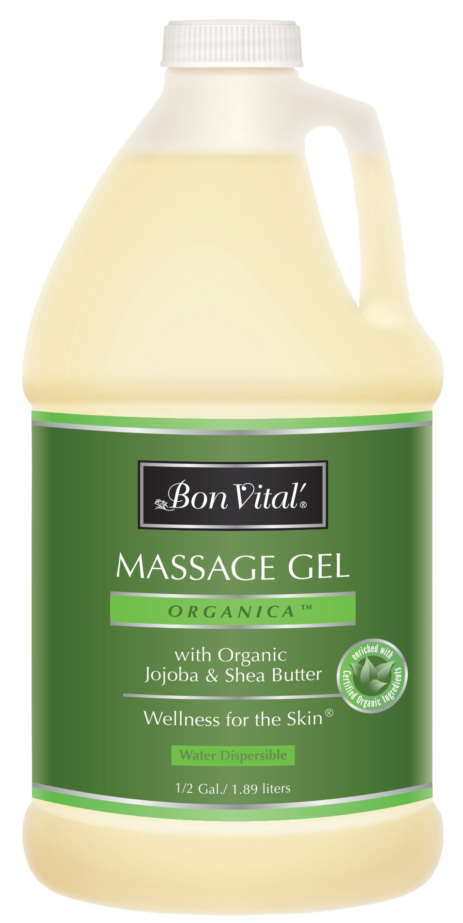 Bon Vital' Organica Massage Gel Made with Certified Organic Ingredients for Earth-Friendly and Relaxing Massage, Moisturizer for Natural Massage that Hydrates and Softens Skin, 1/2 Gal Bottle