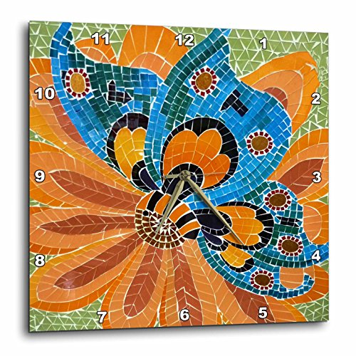 Blue Mosaic Clock - 3dRose Blue Orange and Green Mosaic - Wall Clock, 13 by 13-Inch (DPP_34997_2)