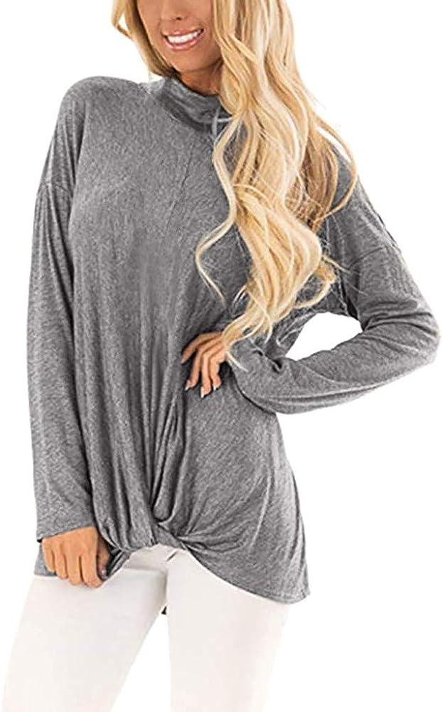 Camiseta de Mujer, Verano Moda Color sólido Cuello Alto Manga Larga Blusa Camisa Basica Camiseta Suelto Tops Casual Fiesta T-Shirt Original tee vpass: Amazon.es: Ropa y accesorios