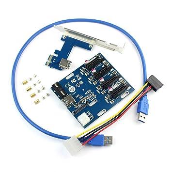 JMT PCIe 1 a 4 PCI Express 1X Ranuras Riser Tarjeta Mini ...