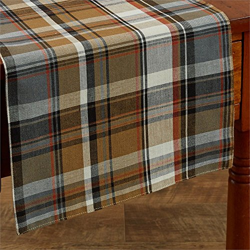 Park Designs Roaring Thunder Brown Plaid Table Runner 13x54 inches by (Thunder Roaring)